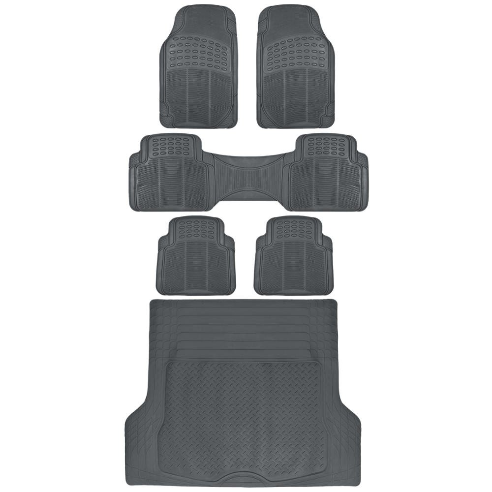 BDK 6pc Gray Cargo Rubber Car Floor Mats All Weather Heavy Duty Set [Gray]