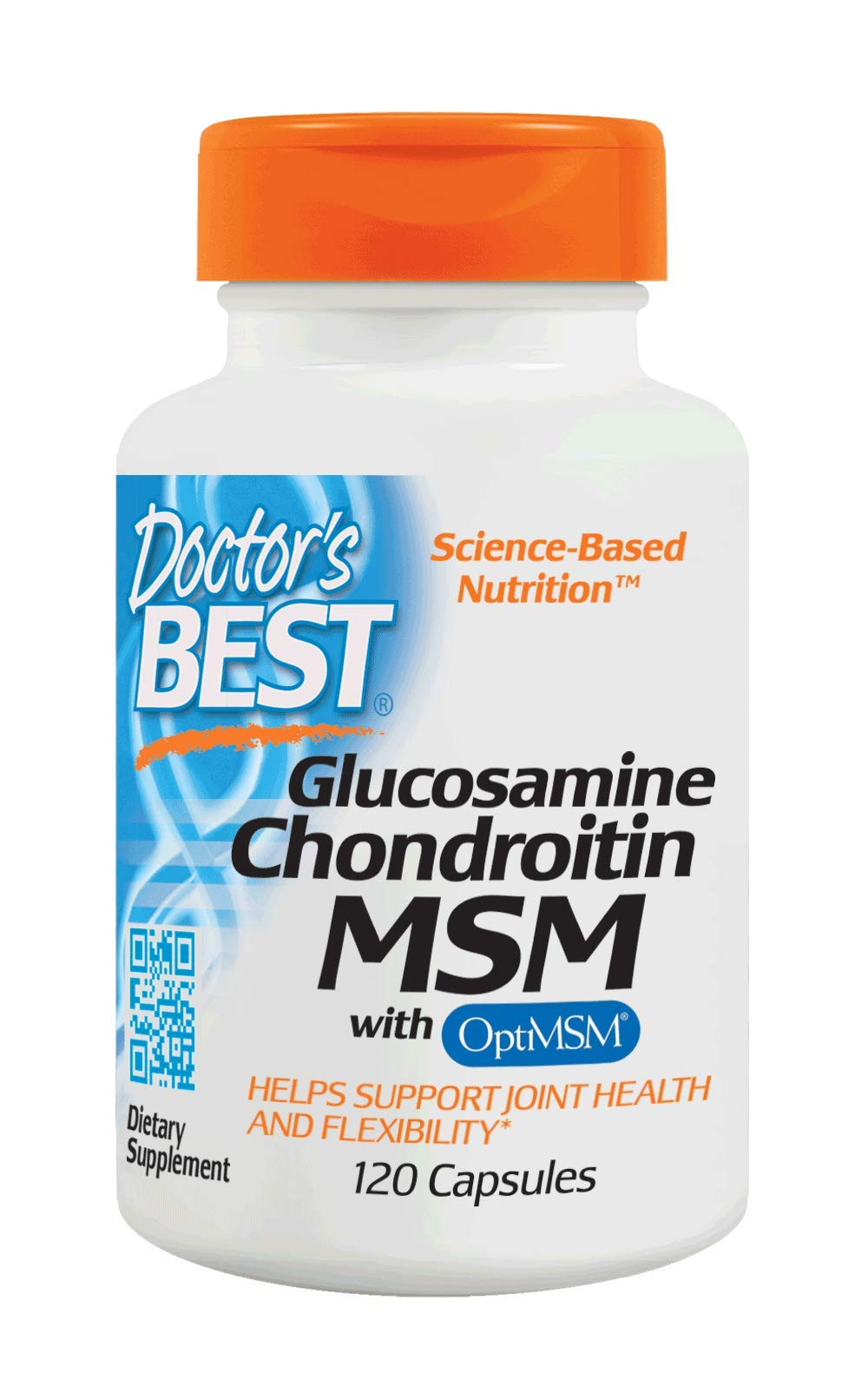 Doctor's Best Glucosamine Chondroitin MSM with OptiMSM, Joint Support, Non-GMO, Gluten Free, Soy Free, 120 Caps
