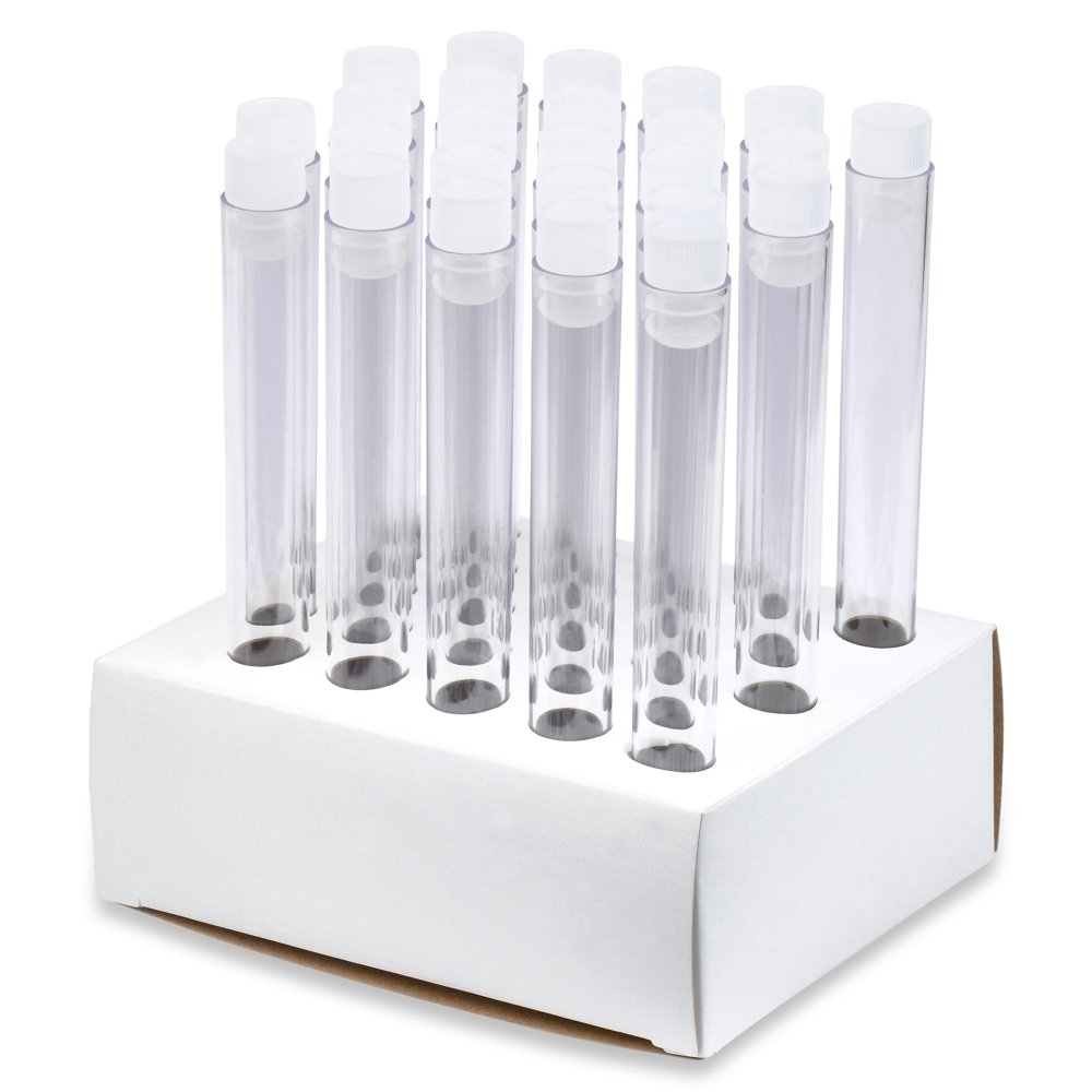 16x150mm Polystyrene Test Tubes and Caps, Cardboard Rack, Karter Scientific