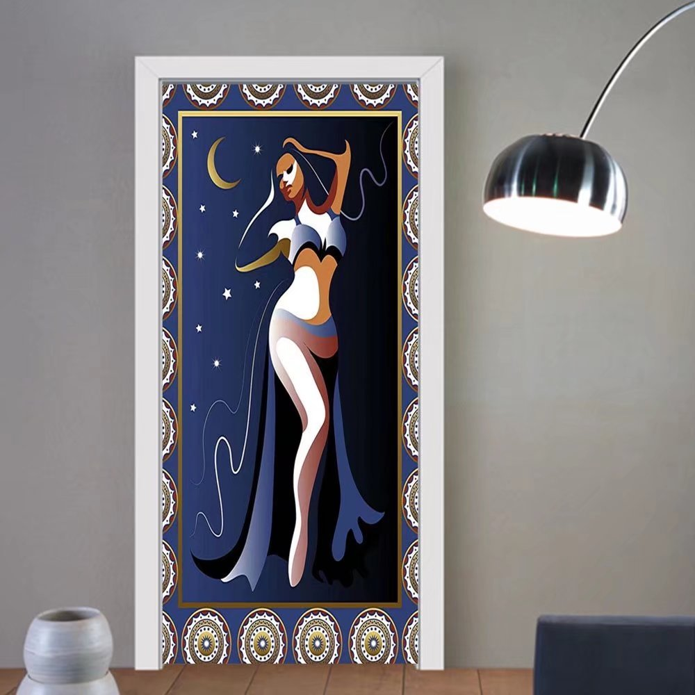 Gzhihine custom made 3d door stickers Modern Decor Arabic Ottoman Turkish Belly Dancer with Moon and Stars Image Artprint Navy White Gold For Room Decor 30x79