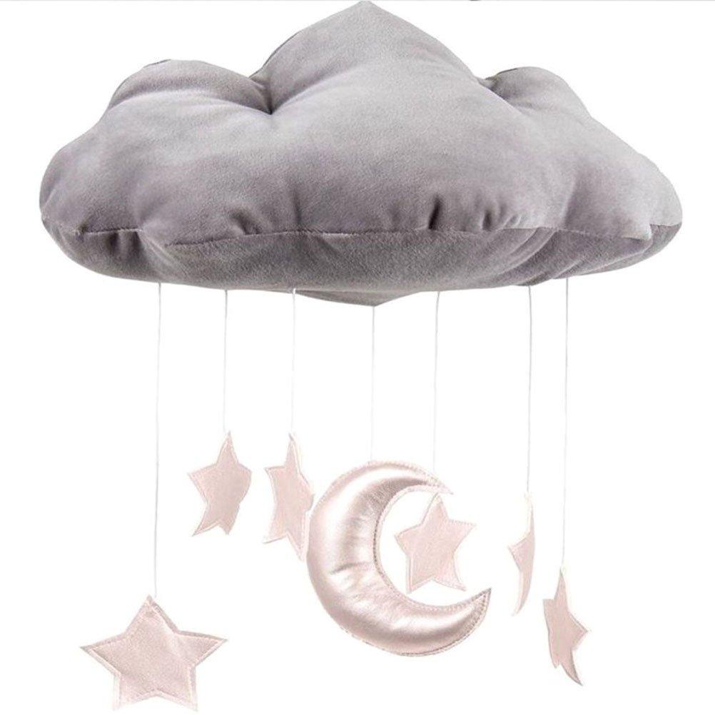 WINOMO mobile Bambino soffitto Decorazioni appesi nube Luna e stelle ghirlanda per asilo nido Baby Shower (grigio)
