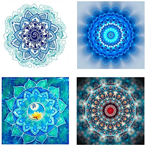 4 Pack 5D Full Drill DIY Diamond Painting Kit Embroidery Painting for Cabinet Table Study Room Decoration Flowers Rhinestone Painting(25X25CM/9.8X9.8inch)