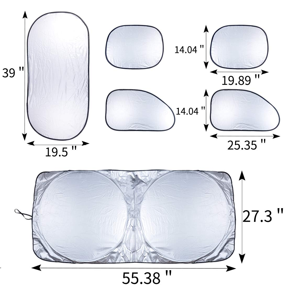 Side Front Rear Window Reflective Shade MIKKUPPA Windscreen Sunshade 6 Pieces Car Sun Shade with 12 PCS Suction Cups