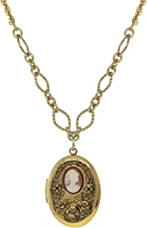 product image for 1928 Jewelry Gold Tone Carnelian Cameo with Flowers Oval Locket Necklace 16-19 Inch Adjustable