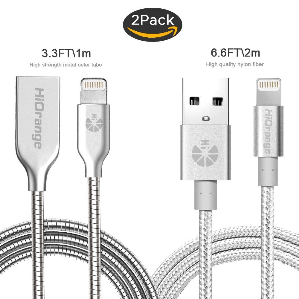 Charging Cable,Hi Orange [2 Pack] 3.3 Ft Metal Cord I Phone Charger Lightning Cable And 6.6 Ft Nylon Braided Cord For I Phone 7,7 Plus,6 S, 6 S Plus, 6,6 Plus,Se,5 S,5 C, 5, I Pad, Nano 7 (Sliver) by Hi Orange