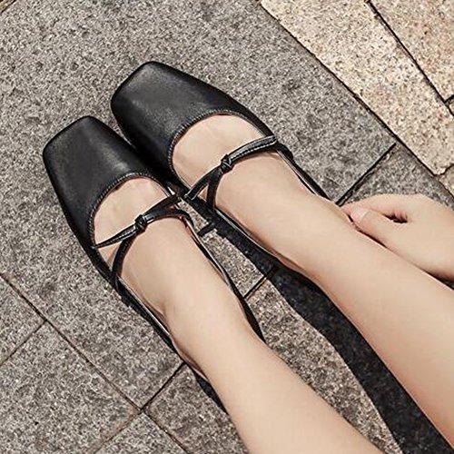 Easemax Womens Trendy Knots Strap Bout Carré Bas Top Slip Sur Chaussures Plates Noir