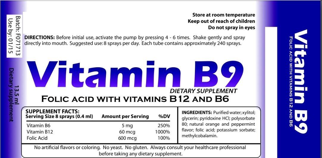 Vitamin B-9, Vitamin B, Vitamin B Complex, Vitamin, Multivitamin, Antioxidants, SPRAY SUPPLEMENTS, VITAMINS IN SPRAY, VITAMINS