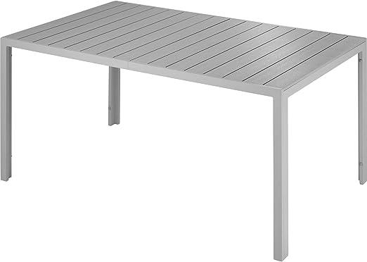 tectake 800716 Table de Jardin de terrasse extérieure, Cadre en Aluminium,  2 Pieds réglables en Hauteur, 150 x 90 x 74,5 cm - Plusieurs Couleurs - ...