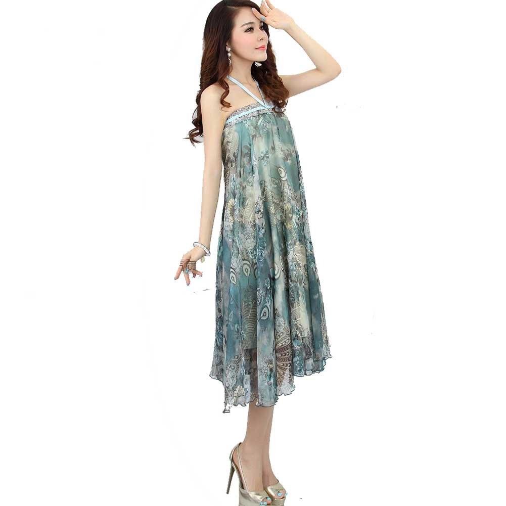 Ashir Aley Beautiful Long Floral Flowy Chiffon Maxi Skirt (L,Style2)