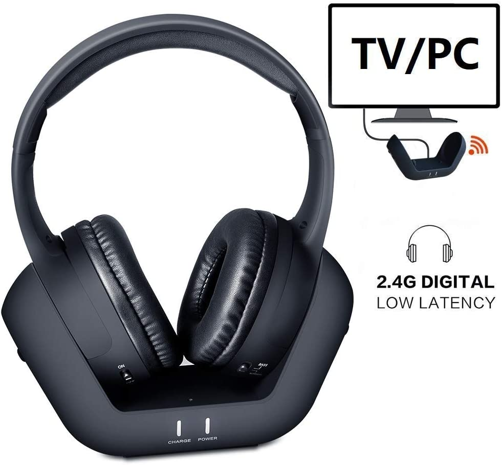 Wireless TV Headphones Over Ear Headsets - Digital Stereo Headsets with 2.4GHz RF Transmitter, Charging Dock, 100ft Wireless Range and Rechargeable 20 Hour Battery