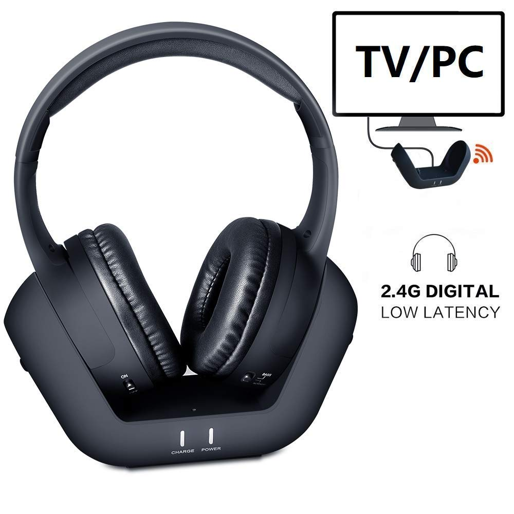 Wireless TV Headphones Over Ear Headsets – Digital Stereo Headsets with 2.4GHz RF Transmitter, Charging Dock, 100ft Wireless Range and Rechargeable 20 Hour Battery