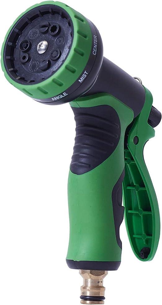 ANSIO pistola de pulverización para manguera de jardín extensible con 9 patrones multifunción, cabezal de riego con cerradura incorporada, para jardín, coche, bicicleta y lavado de mascotas: Amazon.es: Jardín