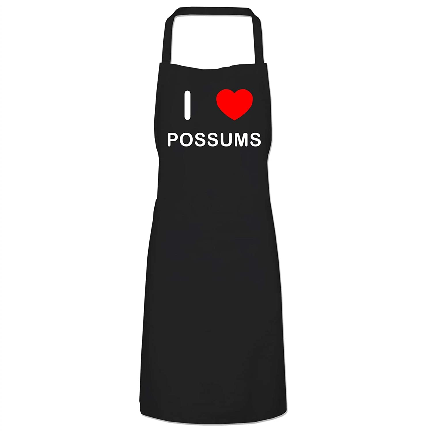I Love Possums - Black Cooks Bib Apron BadgeBeast.co.uk
