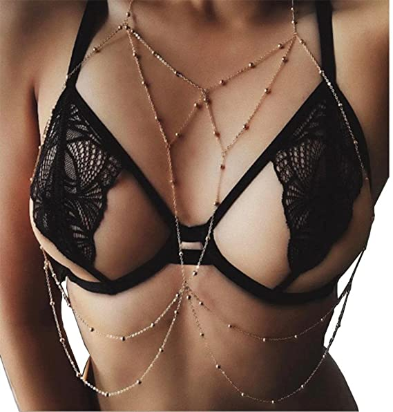 Amazon.com: Women Body Chain, GOTD Fashion Nightclub Party Bra Chain Sexy Harness Bikini Body Chain Women Jewelry (Gold): Clothing