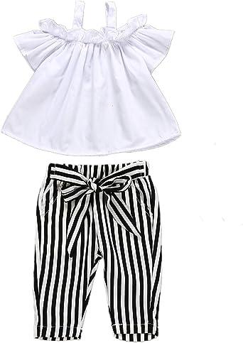 Ropa de verano para niñas con hombros descubiertos, camisa blanca y pantalón capri con tiras 2T-6T - Blanco - 5 años: Amazon.es: Ropa y accesorios