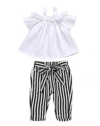 Ropa de Verano para niñas con Hombros Descubiertos, Camisa Blanca ...