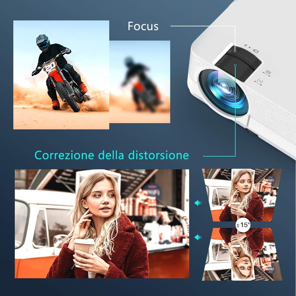 """Proiettore VANKYO L470C Mini Proiettore Portatile Videoproiettore 5000LM 1080P 250/"""" 60000ore Suono Alte Prestazioni per Smartphone//TV Tablet Home Cinema Soffitto con Borsa Versione Nuovo 2020 Bianco"""