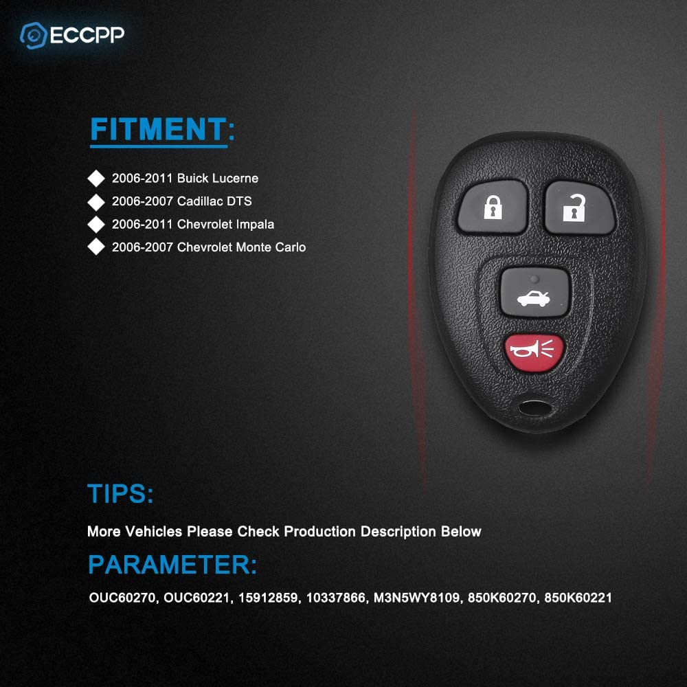 ECCPP Replacement for 1PC 4-Button Replacement Keyless Entry Remote Key Fob for Buick Lucerne//Cadillac DTS//Chevy Impala Monte Carlo OUC60270