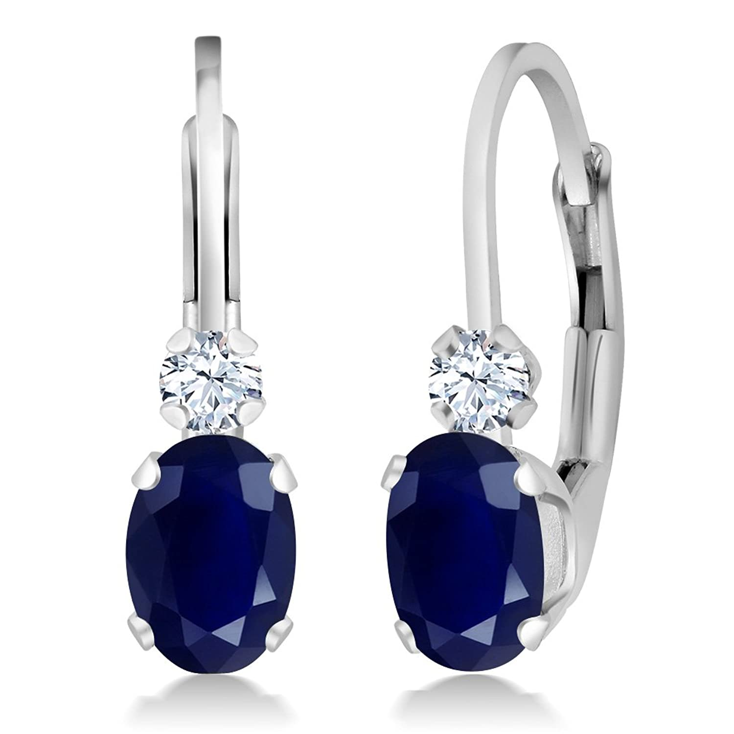 1.18 Ct Oval Blue Sapphire and White Sapphire 925 Sterling Silver Leverback Earrings For Women