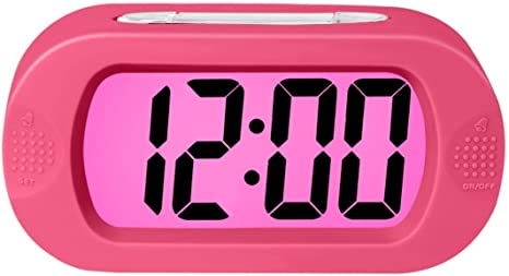 Progressive Alarm Battery Operated Pink The Ideal Gift Clock For Kids /& Convenient for Travel ZHPUAT Colorful Light Digital Alarm Clock with Snooze Simple Setting Shockproof