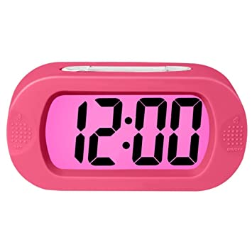 ZHPUAT Colorful Light Digital Alarm Clock With Snooze, Simple Setting,  Progressive Alarm, Battery