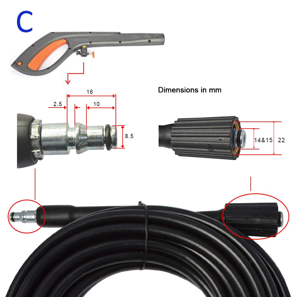 A. compatible with Bosche//Some of AR Blue Clean /& Black /& Decker BEAR FORCE High Pressure Water Cleaning Hose 10 meters 160bar for High Pressure Washer
