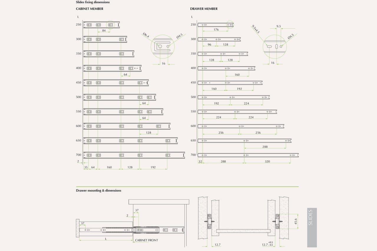 fgv Extension compl/ète enti/èrement crans Rail Rail de tiroir T/élescopique tiroir Rails 35 70/cm