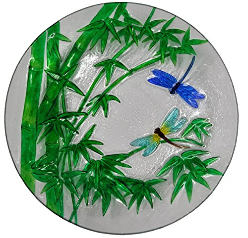 Continental Art Center Bamboo and Dragonflies Glass Plate, 18-Inch by Continental Art