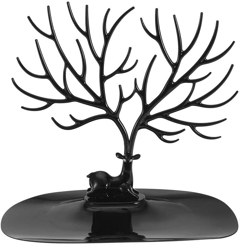 Collier Pendentif avec Bracelet Suspendu Blanc et Noir pour Organisation et Affichage de Bijoux Salmue Pr/ésentoir /à Bijoux Stockage de Bijoux Bol en Forme de Bois de cerf Noir