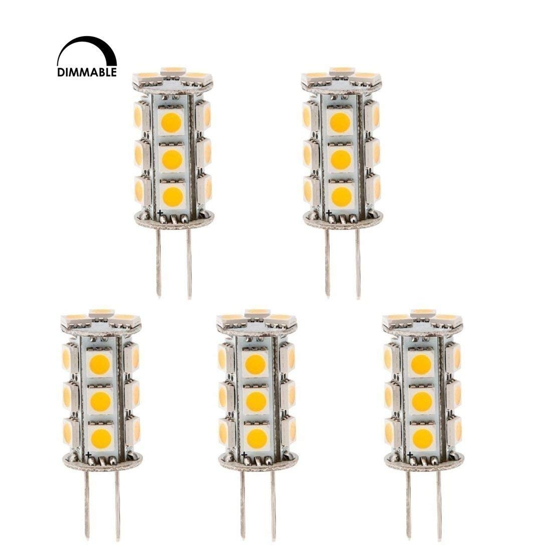 HERO-LED  DTG6-18T-DW Dimmable Back Pin Tower GY6.35 Low Voltage 12V LED Halogen Replacement Bulb 20-25W Equal 2.5W Daylight White 5000K 5-Pack