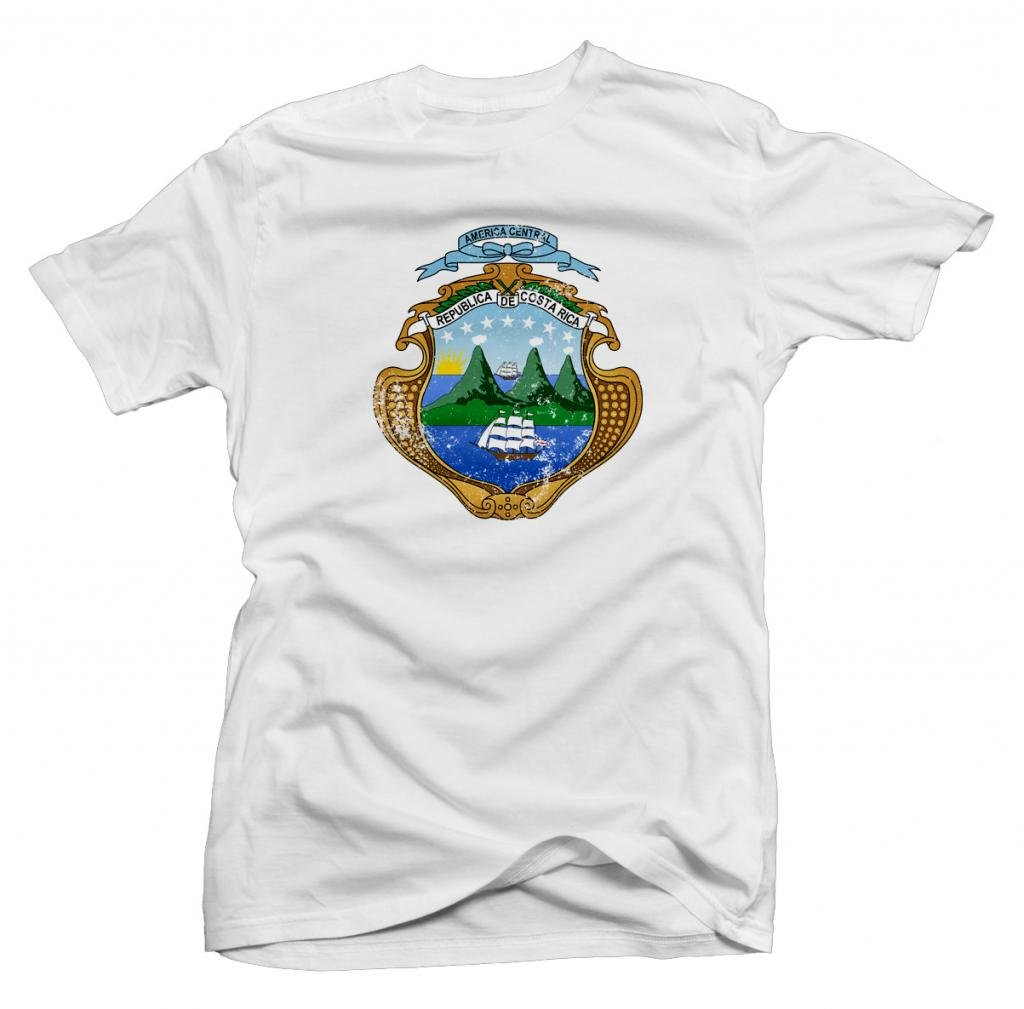 Costa Rica Vintage Coat of Arms Shortsleeve Tee (White) Youth Large [P*]