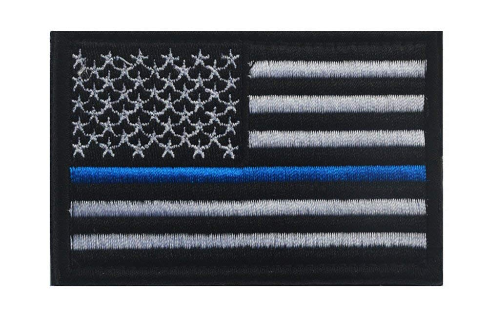 2 Pieces-Tactical Police Law Enforcement Thin Blue Line United States Flag Patch