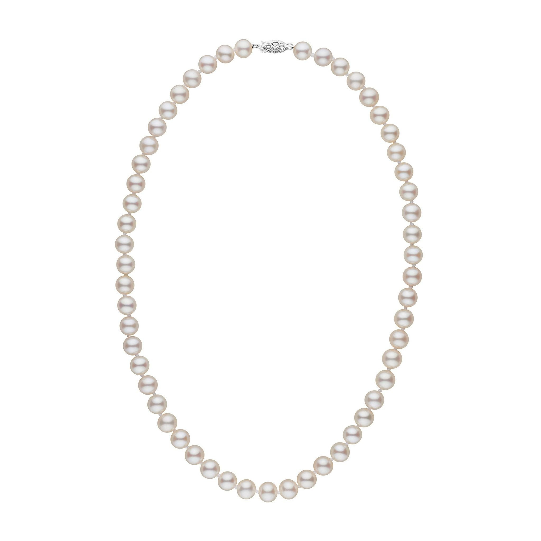 7.5-8.0 mm 18 Inch AAA White Freshwater Cultured Pearl Necklace - 14K White Gold
