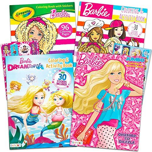 Barbie Coloring and Activity Book Super Set -- 4 Barbie Books with Over 50 Barbie Stickers (Barbie Party ()