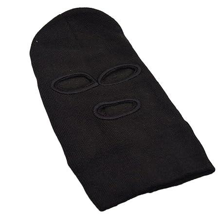 ZHUOTOP 3 Hole Ski Mask Balaclava Knit Hat Face Shield Beanie Cap Snow  Winter Warm Black  Amazon.co.uk  Kitchen   Home 1a890f584591