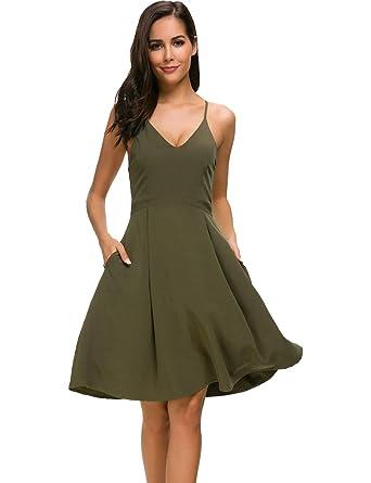 c41ce7f5c4c MANAIXUAN Women s Deep V Neck Adjustable Spaghetti Straps Dress Sleeveless  Sexy Backless Party Dresses Pocket Army