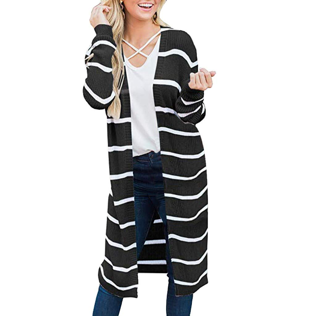 Lataw Women Coat Long Sleeve Striped Open Front Jacket Fashion Casual Plus Size Knitted Outerwear Cardigan Tops Soft Sweater by Lataw