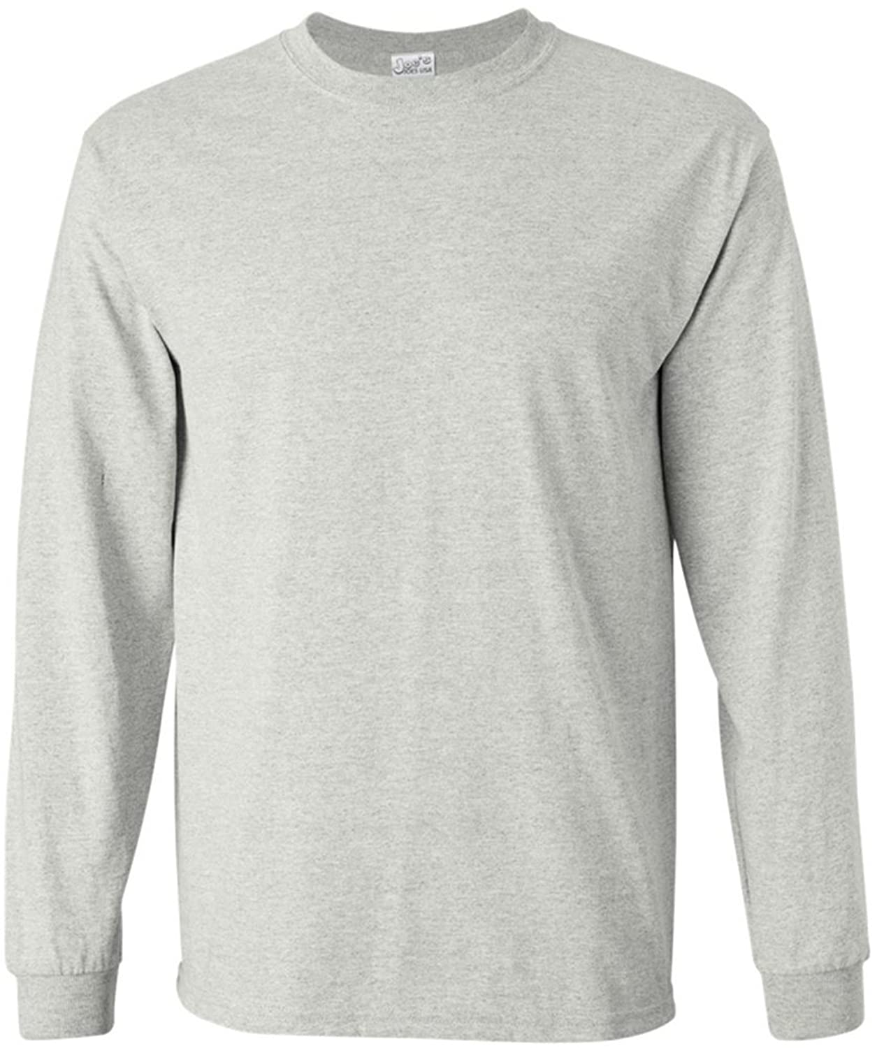 Amazon.com: Men's Long Sleeve Heavy Cotton Crew Neck T-Shirts in ...