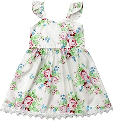 Kids Baby Girls Lace Princess Dress Cute Cotton Ruffle Party Dresses Clothes
