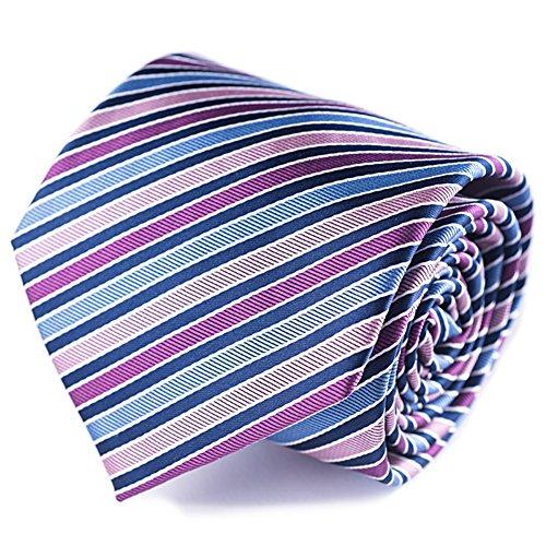 (Qobod stripe necktie colors ties mens silk neckties travel tie roll case pink magenta light blue purple aqua)