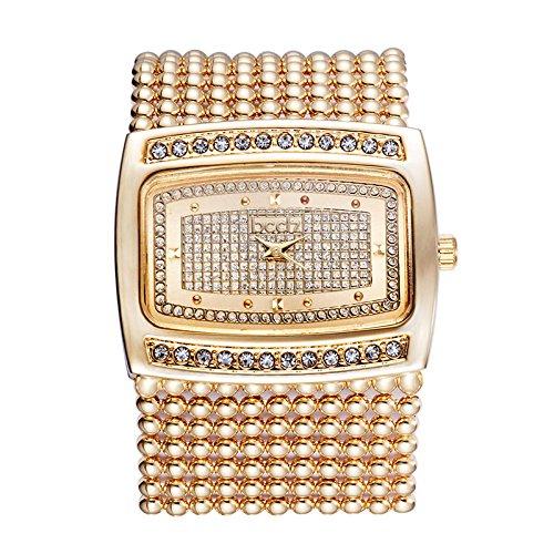 Crystal Rectangular Bracelets (Adealink Fashion Women Rectangle Crystal Dial Alloy Chain Band Bracelet Watch Analog Quartz Wrist Watches Gifts)