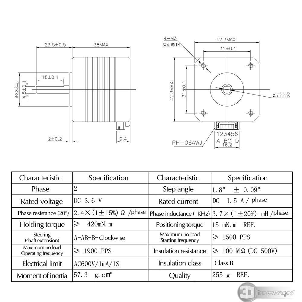 17HS4401S 4-Lead Nema17 Stepper Motor 42 Motor Nema 17 Motor 42BYGH 1.5A Motor for 3D Printer CNC DIY Project