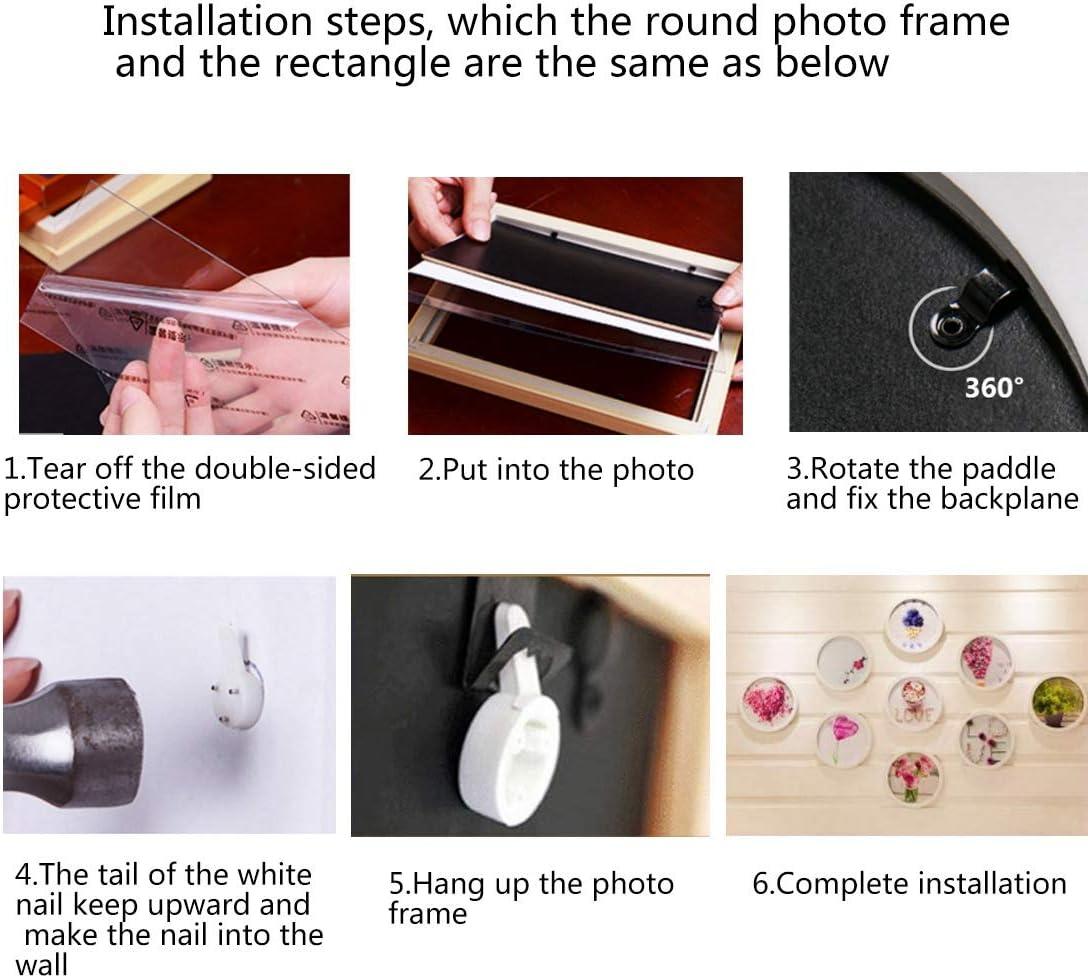 Jiyaru 7 pulgadas madera Marco de fotos redondo de madera para colgar en la pared decoraci/ón del hogar. Blanco