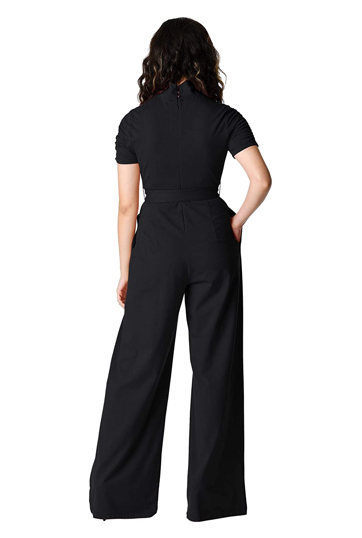 091e4e8c1e82 Amazon.com  eShakti Women s Ruched Turtleneck Cotton Knit Jumpsuit  Clothing
