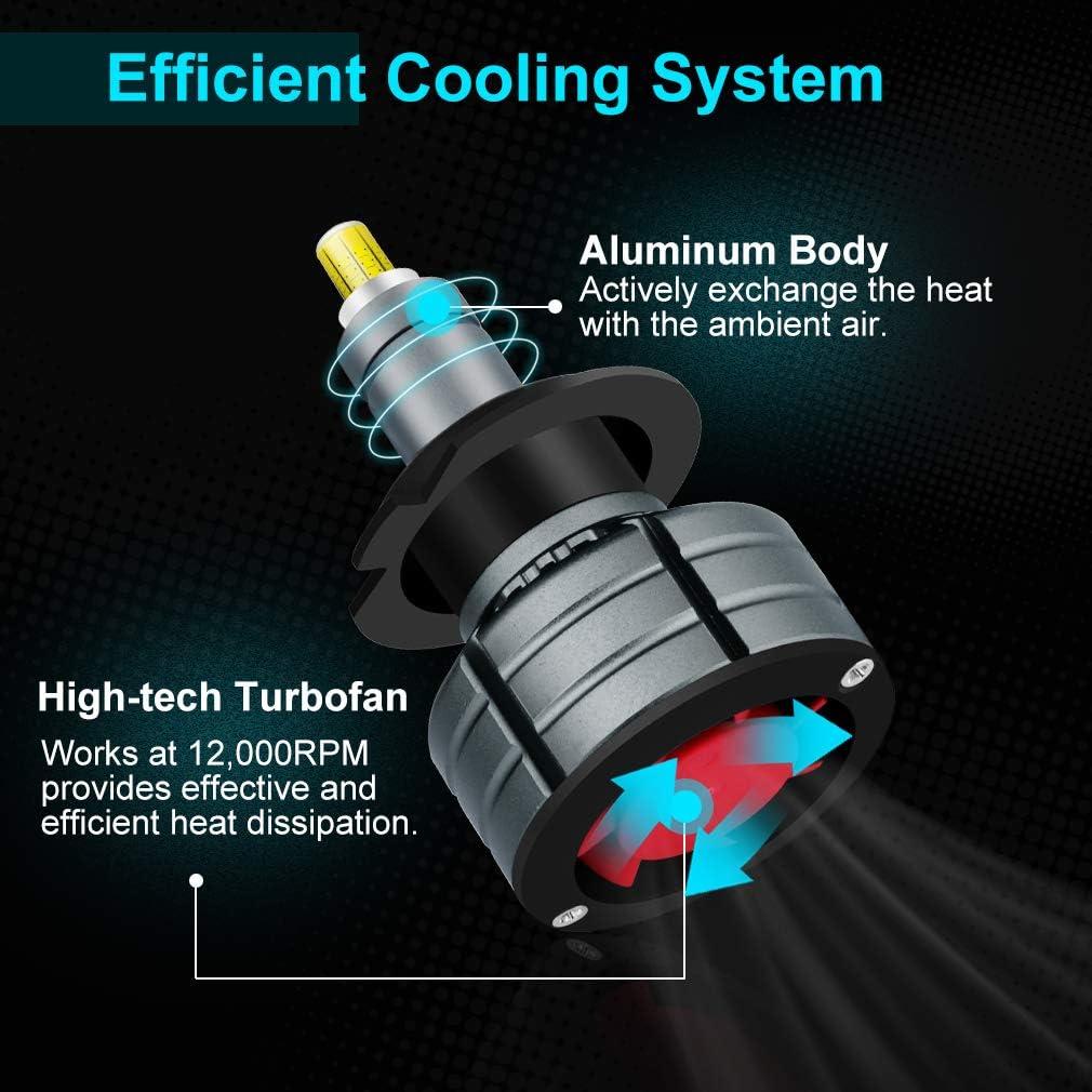 Pair H1 8Sides CSP Chip Car LED Headlight Bulb Kit 6500K 200W 30000LM Fog Lights