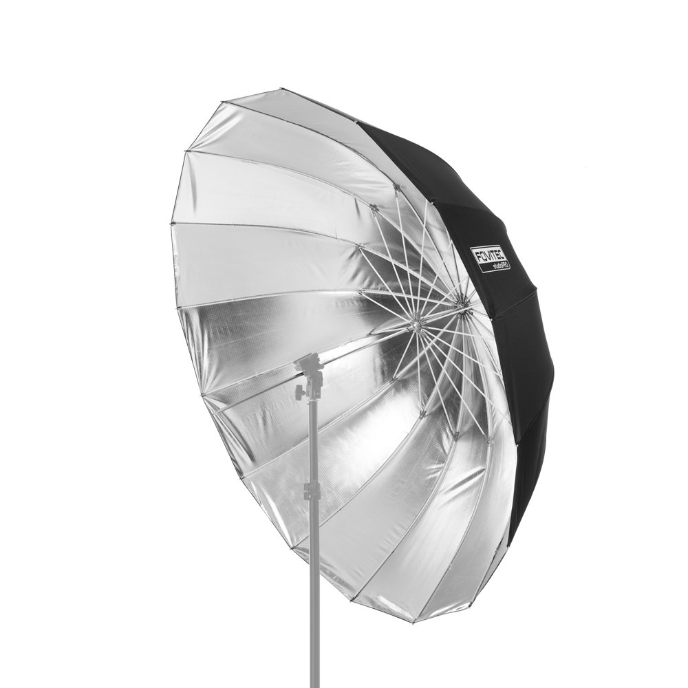 Fovitec - 1x 51 inch Silver Photography & Video Parabolic Umbrella - [Reinforced Fiberglass][Collapsible][EZ Set-up][Lightweight][Durable Nylon]