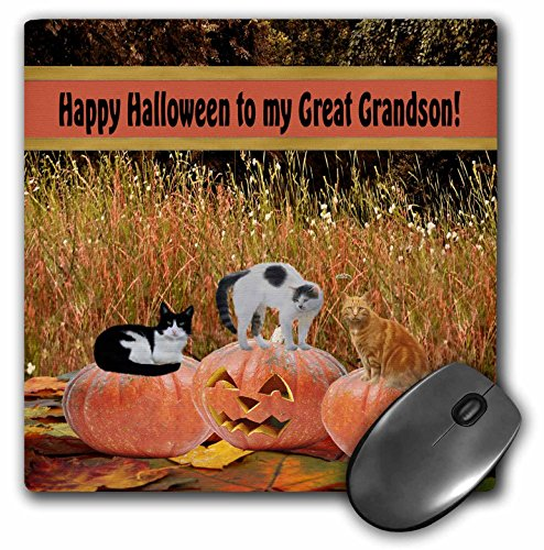 3dRose Beverly Turner Halloween Design - Three Cats on Three Pumpkins, Happy Halloween to my Great Grandson - MousePad (mp_157917_1)