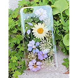 Exquisite Natural Dried Pressed Flowers Handmade On Sony XA, Sony Xperia Z3, Z3 Mini, Z5, Z5 Mini Crystal Clear Snap on Cases: White Daisy Purple Passion Flower Design
