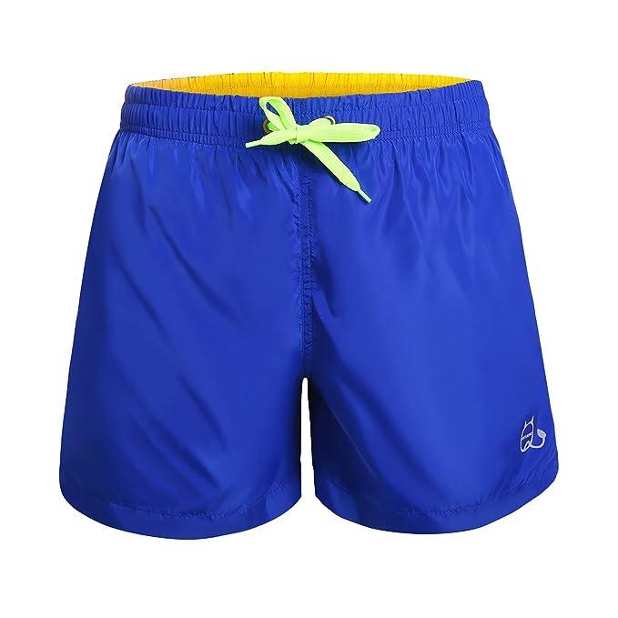 KAMA BRIDAL Mens Swim Trunks Beachwear Board Shorts Quick Dry with Mesh Lining, Swim Trunks Blue L