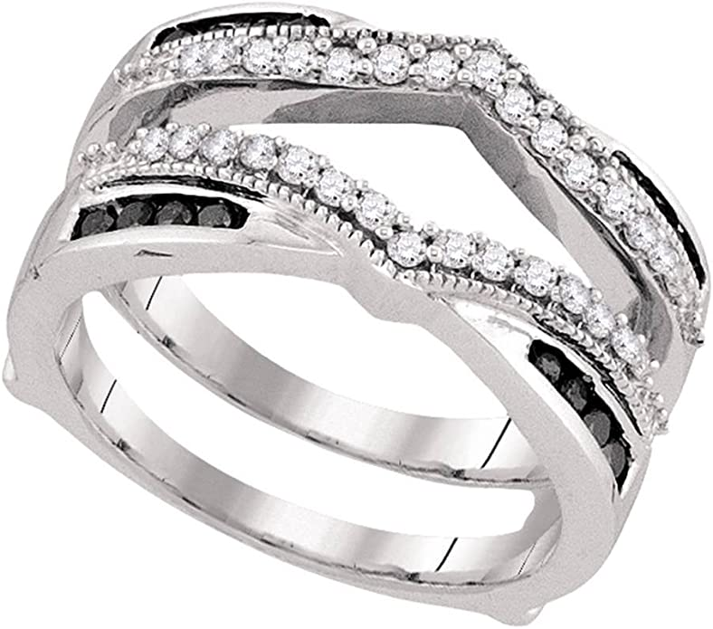 I-J Color, I2-I3 Clarity Brilliant Expressions 10K White Gold 1//10 Cttw Conflict Free Diamond Double Peaked Wedding Ring Enhancer